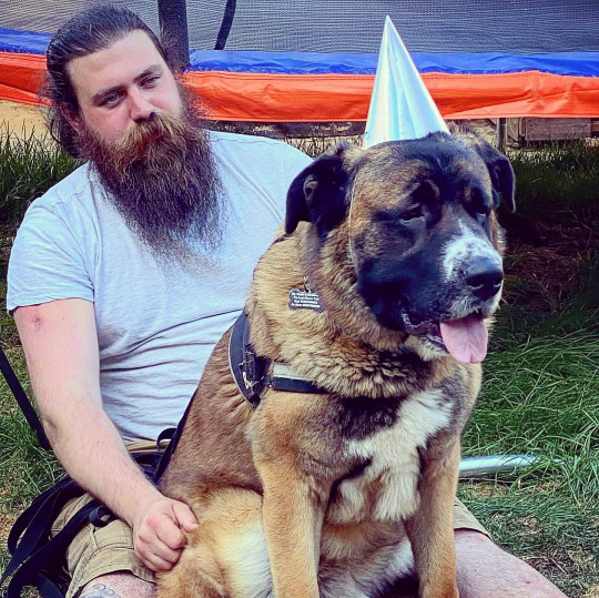 Aaron Sankey with his 60kg Saint Shepherd companion called Bronson