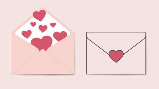 Vector romantic icon pink envelope. In the envelope is a card with a heart. Illustration of a love letter in flat style