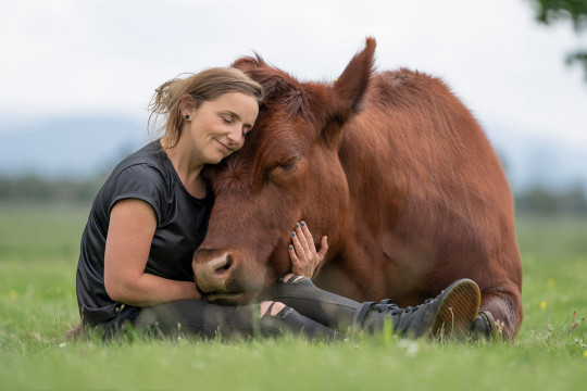 Heidi with Thor the bull
