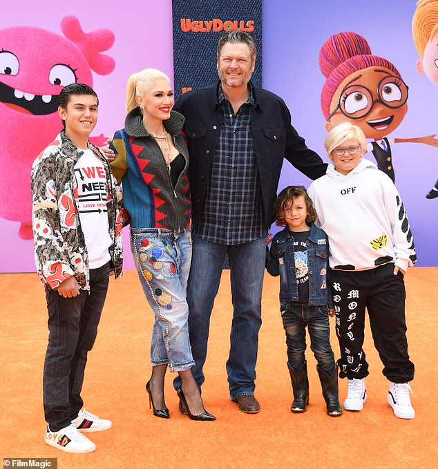 Modern family: Gwenshares three boys with her ex-husband Gavin Rossdale: 15-year-old Kingston, 12-year-old Zuma and seven-year-old Apollo; seen with her boys and Blake in 2019