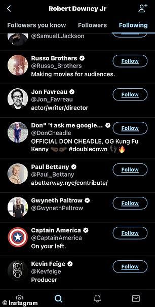 Gwyneth Paltrow, Jeremy Renner, Tom Holland, Tom Hiddleston, Chris Pratt, Chris Evans, Chris Hemsworth, and Mark Ruffalo were among the unfollowed