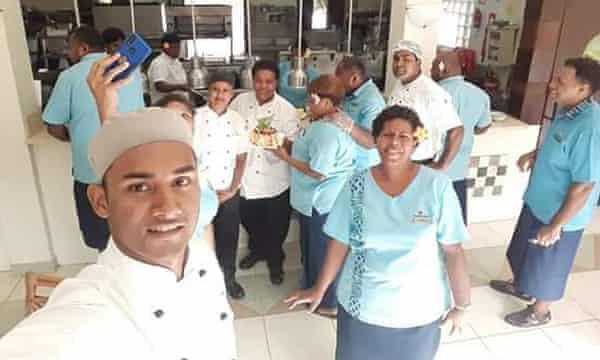Sereana Naituki, front right, with former colleagues at the Naviti Resort Fiji