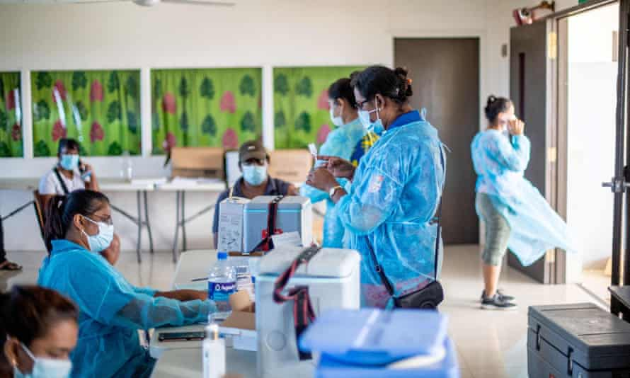 Health workers preparing to administer the Covid-19 vaccination in Suva in June.