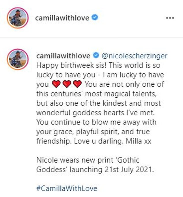 Special message:Posting to her brand's official Instagram account, Camilla, 45, wished the former Australia's Got Talent judge a 'Happy Birthday Week'