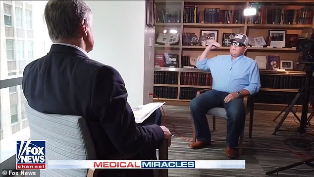 Hardison told hsot Sean Hannity (pictured) about his accident, in which he suffered severe burns while working as a volunteer firefighter in Mississippi in September 2001