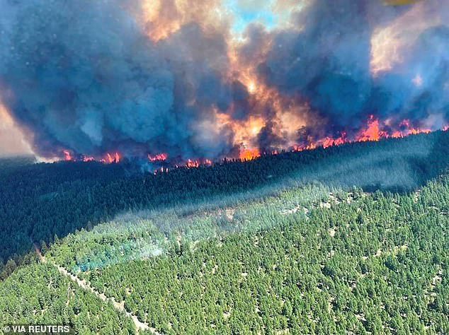 Smoke and flames are seen during the Sparks Lake wildfire at Thompson-Nicola Regional District, British Columbia, Canada, June 29, 2021
