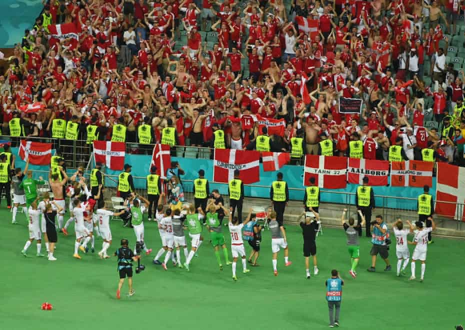 Denmark celebrate with supporters after winning their quarter-final at Euro 2020.