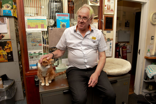 George the ginger cat with his 'dad' Ian Tomlinson, 66, Stourbridge, Worcestershire