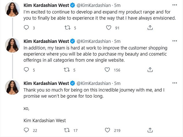 Rebrand: In a long series of tweets on Tuesday, the mogul explained that the lucrative line as it is known now would be no more and will relaunch with 'new formulas that are more modern, innovative, and packaged in an elevated and sustainable new look.'