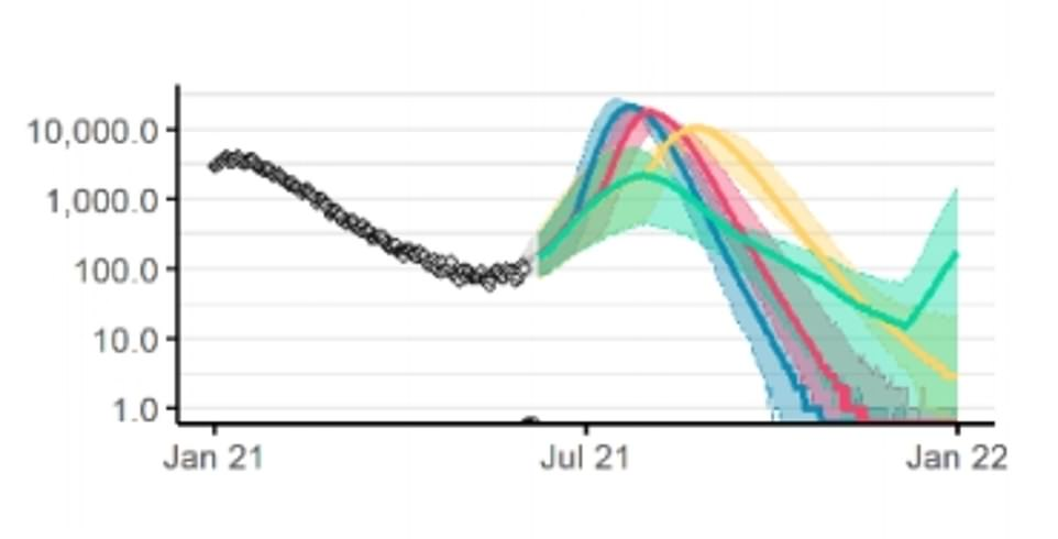 DAILY HOSPITAL ADMISSIONS: Modelling by Professor Neil Ferguson's team at Imperial College London found that delaying Freedom Day until December (shown in green) to let all adults get double-vaccinated would push the peak in Covid hospital admissions further into winter, rather than reducing the number of admissions completely. The yellow line shows the effect on admissions if the unlocking was to go ahead in late July, with hospitalisations peaking in summer and plummeting by winter. Releasing curbs in June (blue) or early July (red) would have led to a bigger peak in summer, which is why the decision was made to push the original June 21 Freedom Day back by a month