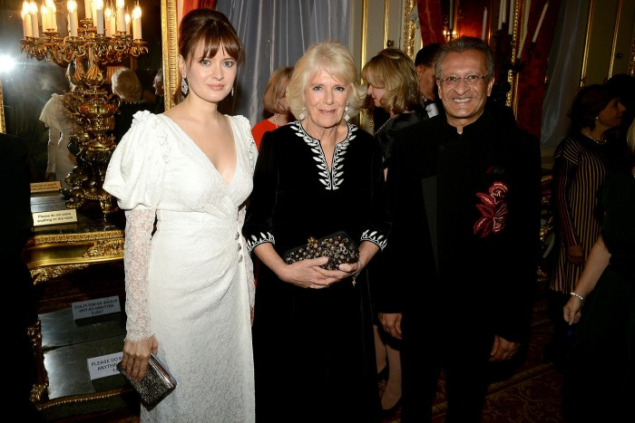 Nadezhda Rodicheva, left, also known as Nadia, Camilla, Duchess of Cornwall and Mohamed Amersi attend a Lancaster House function in 2018