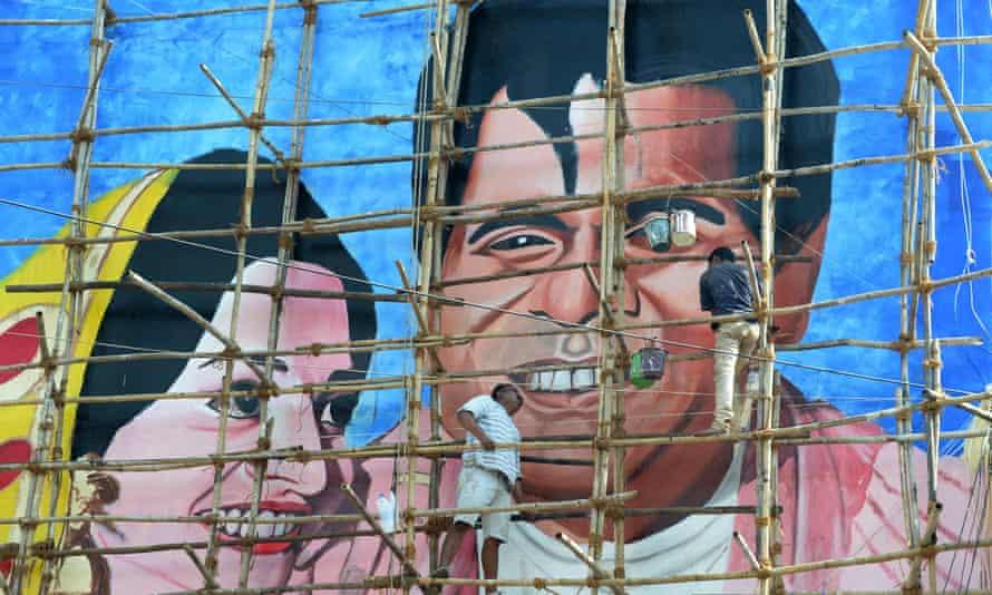 A mural of Bollywood actor Dilip Kumar in Mumbai