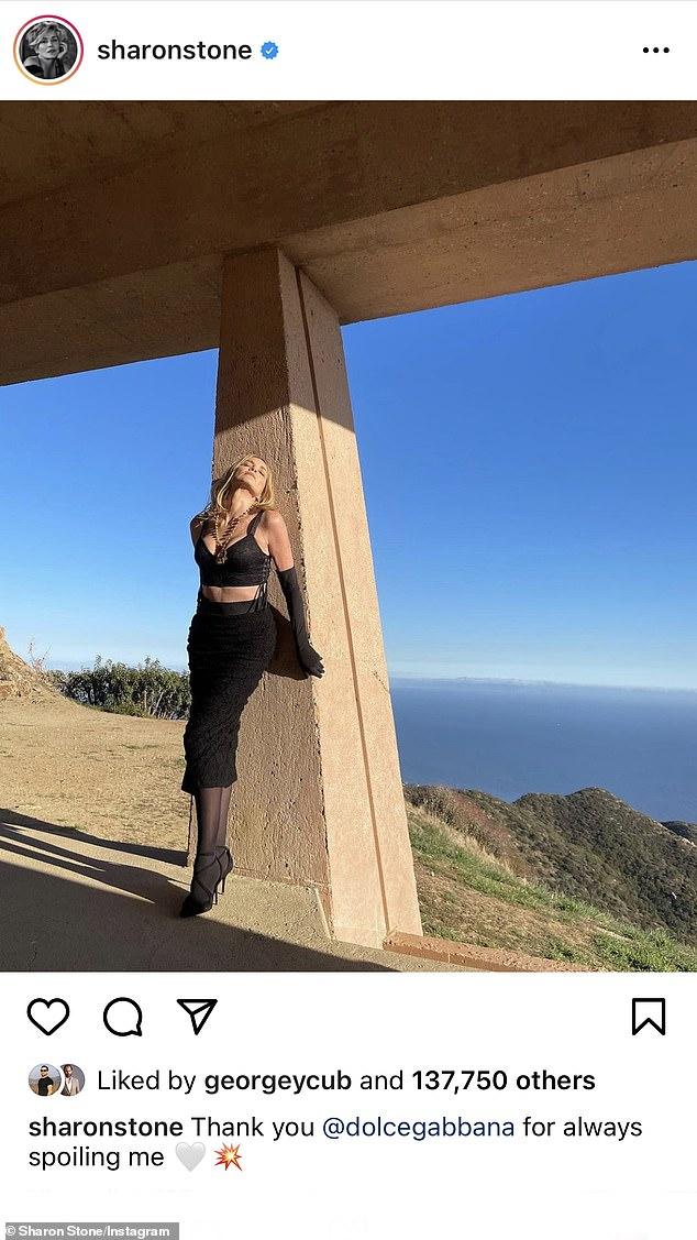 Bringing the heat: The siren in Dolce & Gabbana as she posed in Malibu