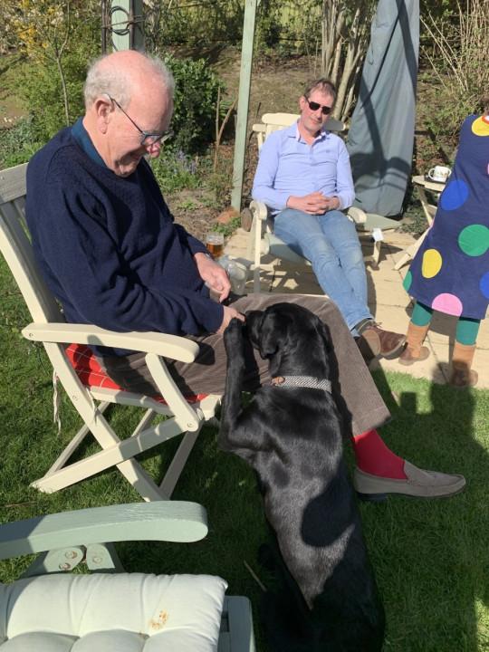 shani resting a paw on nancy's grandad's lap
