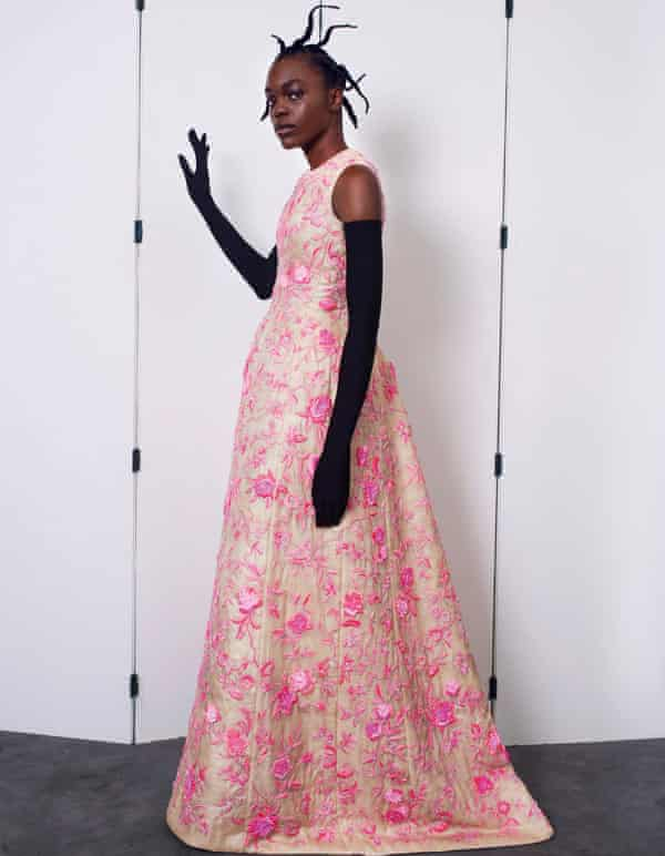 A model in a Balenciaga gown at the label's haute couture show in Paris