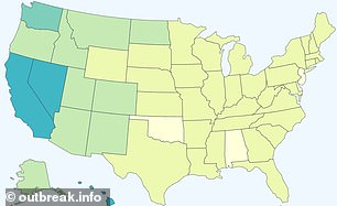 The B.1.429 strain also caused small outbreaks in Nevada and Hawaii, along with California