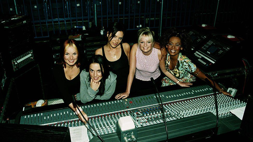The Spice Girls in the studio