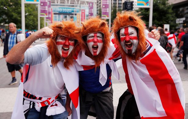 Excited fans outside Wembley stadium