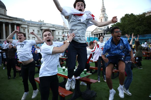 Trafalgar Square erupts after England score their first goal