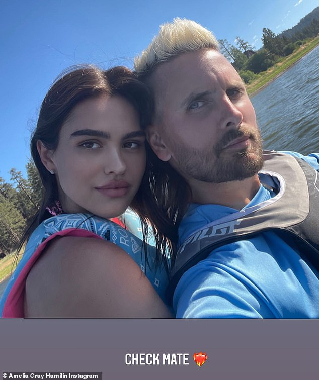 Going strong: Amelia and Scott, shown recently on Instagram, have an 18-year age gap and he has three children with Kourtney Kardashian