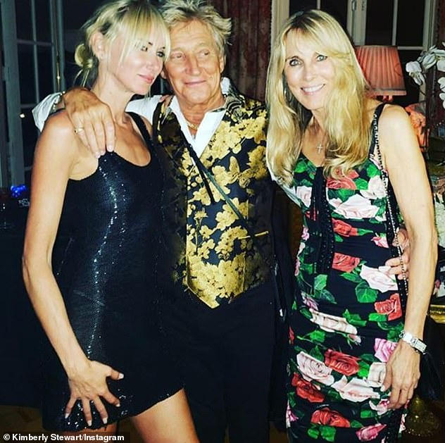 Rock royalty: Alana has three children, including daughter Kimberly, 41, with ex-husband Rod Stewart (pictured together in August 2019)