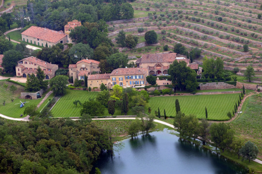 An aerial view taken on May 31, 2008 in Le Val, southeastern France, shows the Chateau Miraval, a vineyard estate owned by Brad Pitt and Angelina Jolie