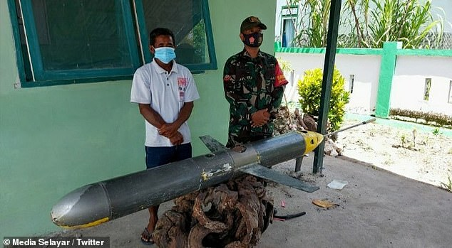 In December, Indonesia fishermen found a two-metre unmanned underwater drone (pictured) in waters near Selayar Island, just off South Sulawesi