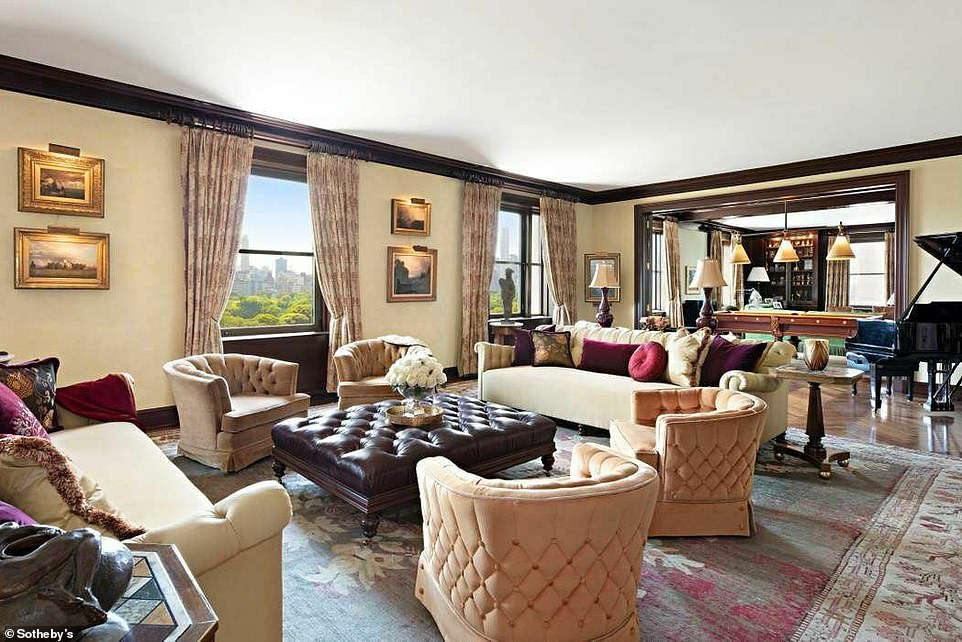 Eye for design: The expansive four-bedroom penthouse home was designed by Thierry Despont and offers sweeping city views overlooking Central Park West