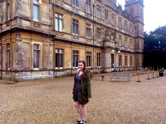 Lauren McGaun in front of an old building