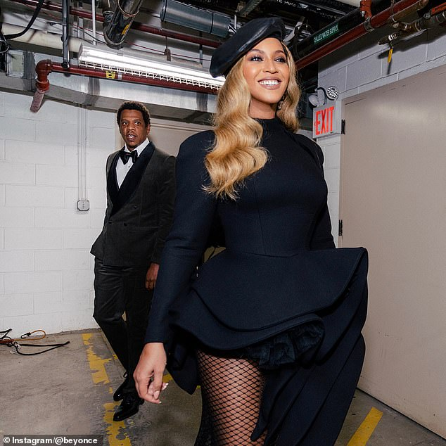 The power couple at an event: Mr and Mrs Carter looked elegant for a night out