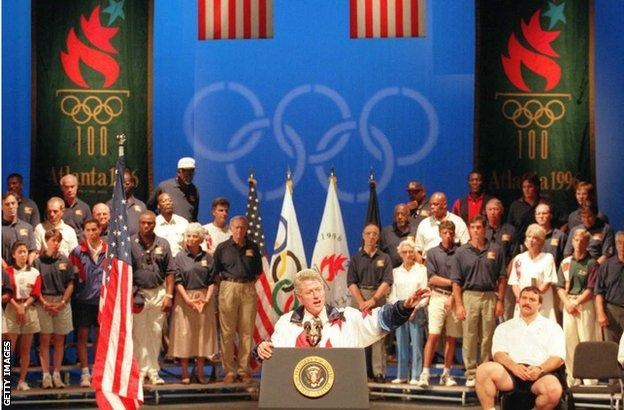 President Clinton gives a speech at the Olympic village in Atlanta, in 1996