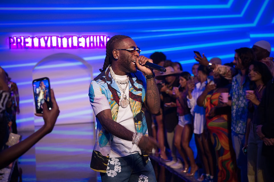 Getting them fired up: Burna Boy whipped the audience into a frenzy with his performance