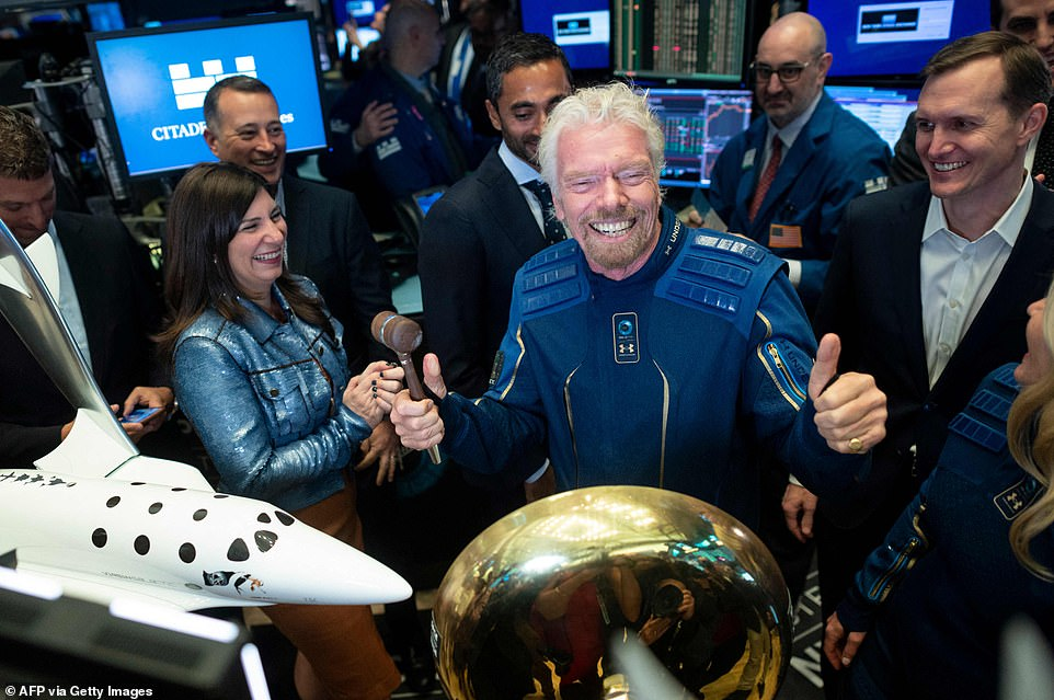 Virgin Galactic´s Richard Branson is set to beat Amazon and Blue Origin founder Jeff Bezos being the first to blast off into space on their July 11 flight. Branson is pictured in 2019
