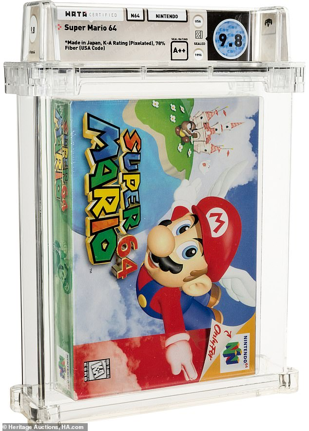 A sealed copy of Super Mario 64, the first 3D Mario game is rated Wata 9.8 and has a current bid of $100,000
