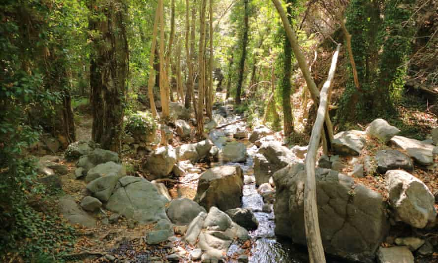 Caledonia waterfall trail in Troodos mountains in Cyprus