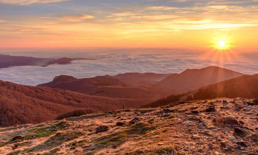 Sunrise at the peak of Les Agudes, in the natural park of Montseny, Catalonia, Spain