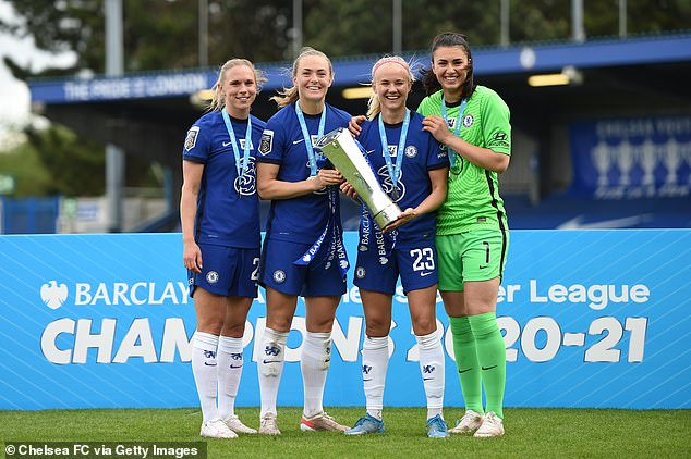 Eriksson and Pernille, who won the FA Women's Super League together this season (pictured, centre), are known for their LGBTQ+ advocacy