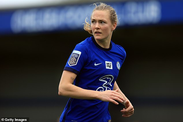 Eriksson said the issue of gay pride flags and illuminations at football matches is not a political question, but one of human rights (pictured, during a FA Women's Super League match on March 28)