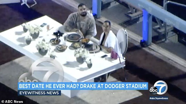 Sighting!A local ABC7 news helicopter first noticed the over-the-top occasion and tweeted out pictures and video of the couple seated at an ornate table with a full bar and bartender set up nearby