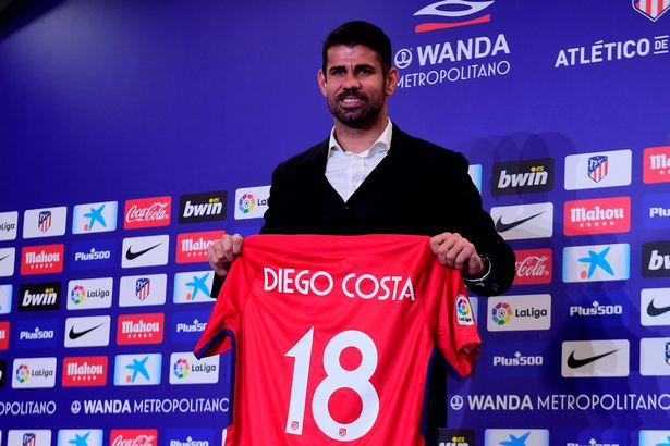 Diego Costa was presented as an Atletico Madrid player on New Year's Eve in 2017