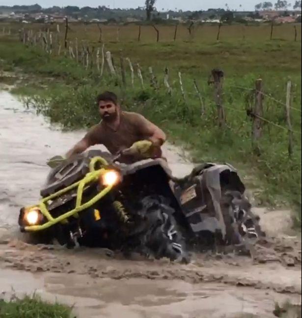 Diego Costa rides a quad bike in Lagarto, Brazil, as his Chelsea future appeared uncertain