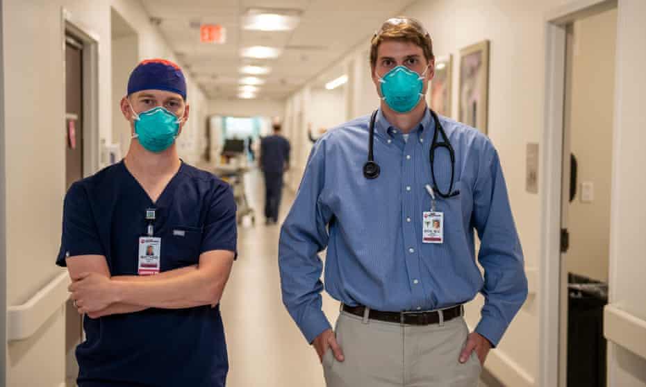 Patient care coordinator Matthew Robinson, RN (left), and Dr John Eick at Methodist University hospital.