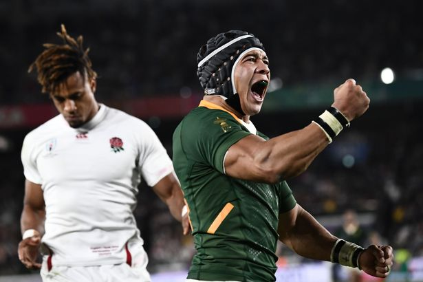 South Africa winger Cheslin Kolbe celebrates a try against England in the 2019 Rugby World Cup final