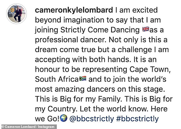 Thank you:Of joining Strictly, Cameron said: 'Thank you Strictly Come Dancing for this life changing opportunity'