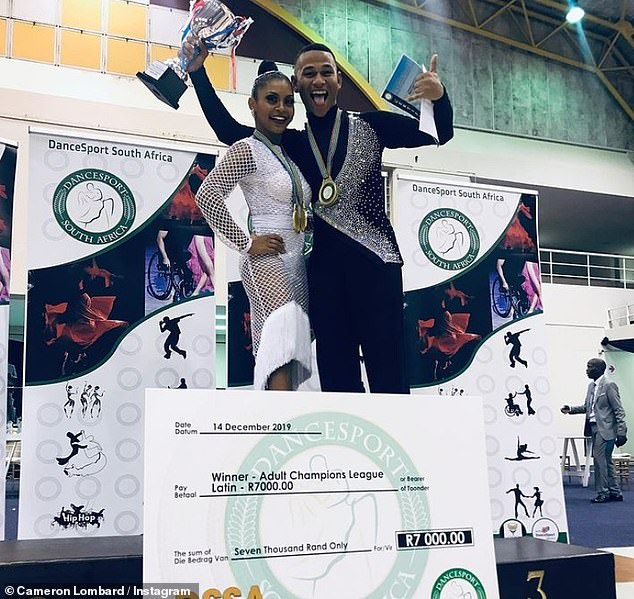 Cameron added: 'I have learned from it and would react differently now. That's not who I am, I'm a dancer, I'm not a fighter' (pictured after winning DanceSport South Africa in 2019)
