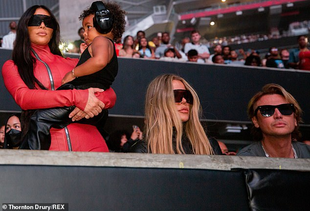 Support: Kanye's audience during his listening event on Thursday included his estranged wife Kim Kardashian, their children, Kim's sister Khloe and their friend Jonathan Cheban