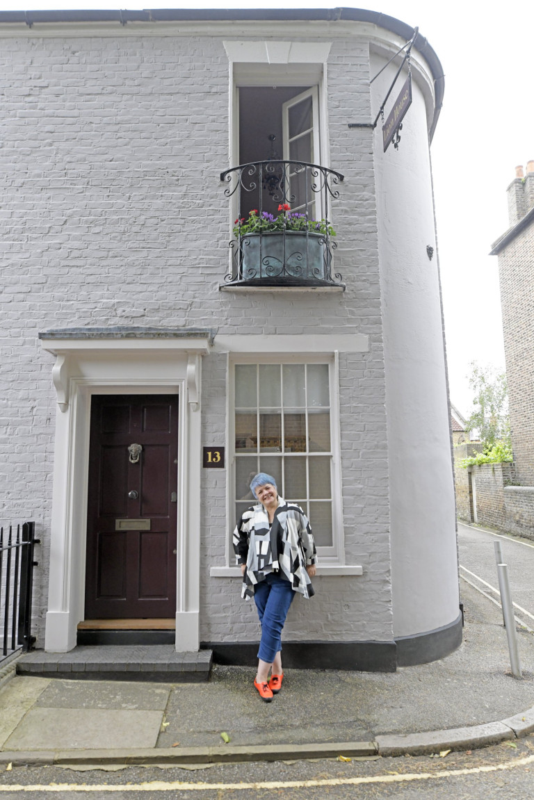 Picture shows Kath Wood photographed at her eclectic home / gallery space in a former public house in Twickenham, South-West London.