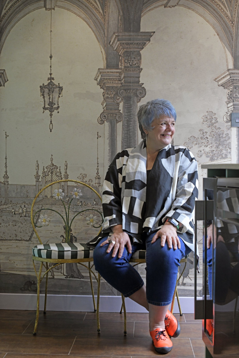 Kath Wood photographed at her eclectic home / gallery space in a former public house in Twickenham, South-West London.
