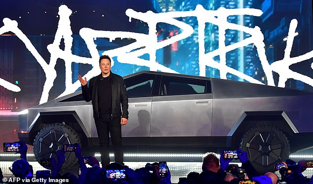 The announcement leaves some one million pre-orders waiting in limbo, as Tesla said the Cybertruck would hit the market this year when it was first unveiled in 2019 (pictured)
