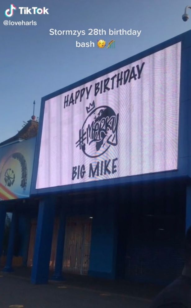 The signs at Thorpe Park wished the star a happy birthday